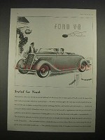 1935 Ford V-8 Roadster Car Ad - Styled for Youth
