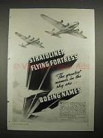 1940 Boeing TWA Stratoliner, Flying Fortress Plane Ad