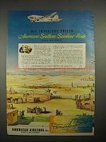 1940 American Airlines Ad - Southern Sunshine Route