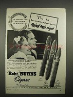 1940 Robt. Burns Cigar Ad - Corona, Perfecto Grande +