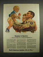 1944 WWII North American Aviation Ad - Reunion