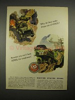 1944 WWII United States Steel Ad - Jeep