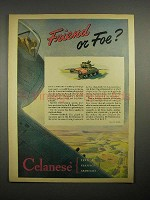 1945 WWII Celanese Synthetic Yarn Ad - Friend or Foe?