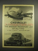 1945 WWII Chevrolet Ad - C-82 Flying Boxcar, Truck