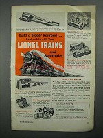 1951 Lionel Trains Ad - Milk Car, Cattle Car, Coal Ramp