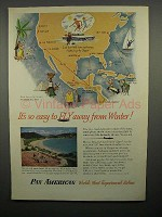 1952 Pan American Airlines Ad - Fly Away From Winter