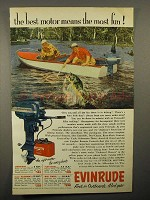 1953 Evinrude Outboard Motor Ad - The Most Fun
