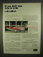1973 Beechcraft Bonanza Plane Ad - Call Collect