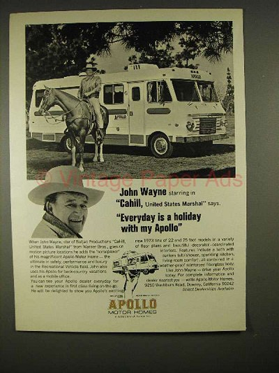 1973 Apollo Motor Homes Ad w/ John Wayne