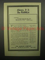1908 Aeolian Pianola Piano Ad - Always