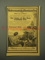 1908 Waterman's Ideal Fountain Pen Ad - General Wright