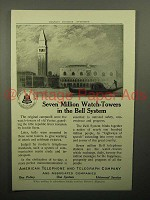 1913 AT&T Telephone Ad - Seven Million Watch-Towers
