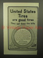 1913 United States Tires Ad - Cut Down Tire Bills