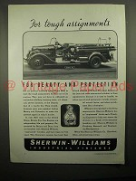 1936 Sherwin-Williams Paint Ad - Ahrens-Fox Fire Engine