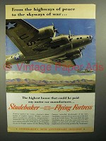 1942 WWII Studebaker Flying Fortress Plane Ad!