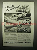 1943 WWII Oldsmobile Cannon Ad - Pass the Ammunition