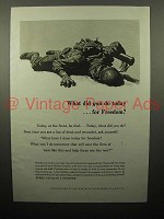1943 WWII Every Civilian a Fighter Ad - For Freedom