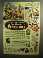 1943 Firestone Tires Ad - Spring Shopping One-Stop Way