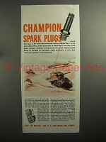 1943 WWII Champion Spark Plugs Ad - Tank