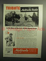 1943 WWII Motorola Radio Ad - Tribute Army Signal Corps