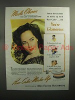 1944 Max Factor Pan-Cake Make-Up Ad, Merle Oberon