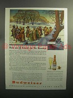 1944 Budweiser Beer Ad - Not an A Card in Ye Group