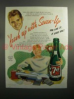 1946 7up Soda Ad - Fresh Up With Seven Up