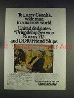 1974 United Air Lines Ad w/ Larry Csonka