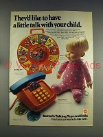 1974 Mattel Drowsy Doll, Alphabet Phone Toy Ad