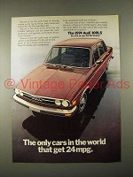 1974 Audi 100LS Car Ad - Only Cars in The World