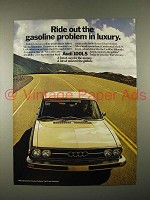 1974 Audi 100LS Car Ad - Ride Out the Gasoline Problem