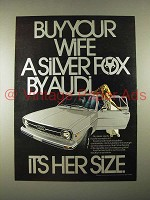 1974 Audi Silver Fox Car Ad - Buy Your Wife