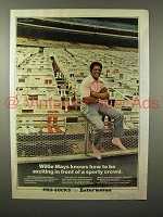 1975 Interwoven Pro Socks Ad w/ Willie Mays