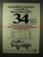 1975 Mercury Bobcat MPG 3-Door Car Ad