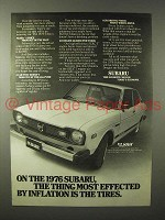 1976 Subaru Car Ad - Most Effected by Inflation, Tires