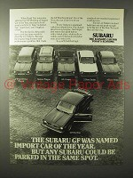 1975 Subaru GF Hardtop Car Ad - Import of the Year