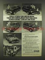 1976 Subaru GF Hardtop, DL Sedan, 4 Wheel Wagon Ad