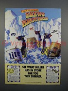 1989 Miller High Life, Lite, Genuine Draft Beer Ad