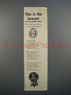 1943 Pabst Blue Ribbon Beer Ad - This is the Lawyer