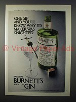 1971 Burnett's White Satin Gin Ad - Maker Was Knighted