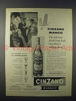 1958 Cinzano Bianco Ad - Delicious Drink from Italy