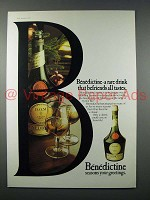 1977 Benedictine Liqueur Ad - Befriends All Tastes