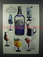 1982 Sambuca Romana Liqueur Ad - Out of Coffee Beans?