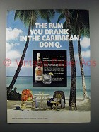 1972 Don Q Rum Ad - You Drank in the Caribbean
