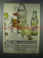 1973 Bacardi Rum Ad - Schweppes Tastes Good With