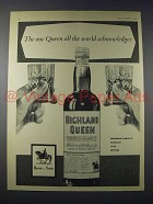 1959 Highland Queen Scotch Ad - The One Queen