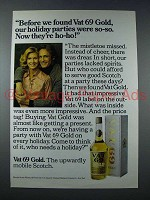 1975 Vat 69 Scotch Ad - Our Holiday Parties Were So-So