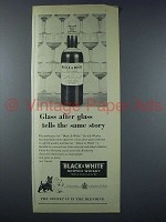 1958 Black & White Scotch Ad - Glass after Glass