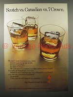 1970 Seagram's 7 Crown Whiskey Ad - vs. Scotch