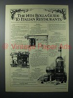 1979 Bolla Wine Ad - 14th Guide to Italian Restaurants